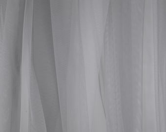 """Solid Grey Tulle - ultra-fine tulle fabric with soft feel and drape - 58"""" wide - sold by the yard"""