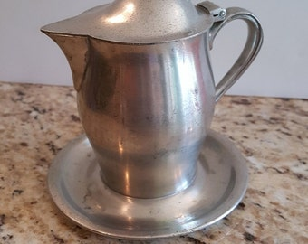 Vintage Pewter Lidded Creamer with Dish
