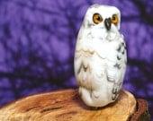 Snowy Owl lampwork - glass bead by Cleo Dunsmore Buchanan Grama Tortoise 36 animal bird  raptor sculpture