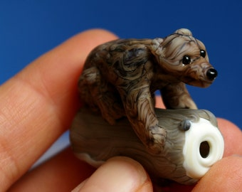 Grizzly Bear climbing a tree lampwork glass bead by Cleo Dunsmore Grama Tortoise 2 sculpture collectible
