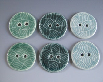Pair of Buttons Weaving Pattern Handmade Ceramic