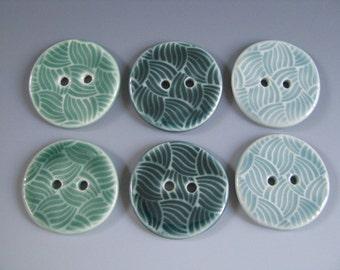 Pair of Buttons Weaving Pattern Handmade Ceramic