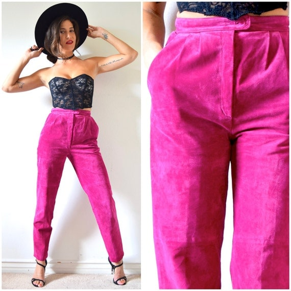 SUMMER SALE / 20% off Vintage 80s 90s Fuchsia Suede High Waisted Trousers (size small)