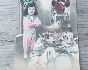 Vintage Antique old French 1900 postcard /  child  with Victorian toys /doll/puppets/ greetings / Bonne année