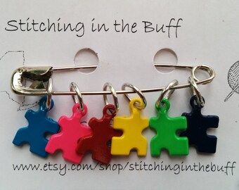 puzzle piece stitch markers on 8mm rings