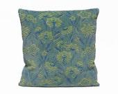 Blue Floral Cut Velvet Pillow 18x18, designer pillow, scatter pillow, throw pillow, custom made, couch pillow, decorative pillow by EllaOsix