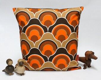 70s Orange Brown Retro Pillow Cover  40x40 -16x16 - mid century decorative pillow