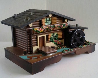 Swiss Chalet Music Jewelry Box Turning Water Wheel Alpine Log Cabin Musical Lonely Goatherd Sound Of Music