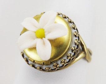 Jasmine Locket Ring - Vintage Style Locket Ring, Jasmine Jewelry, Secret Compartment Ring