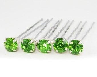 Green Rhinestone Hair Pins - Peridot Crystal Hair Pins, Green Wedding Hair Pins - 7mm/5 qty - FLAT RATE SHIPPING