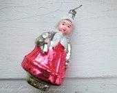 Vintage Old Pheasant Girl Glass Ornament,  Christmas , Glass Tree Ornament