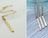 Vertical Gold Bar Necklace Dainty Thin Bar Necklace Personalized Name Necklace for Bridesmaids Custom Hand Stamped