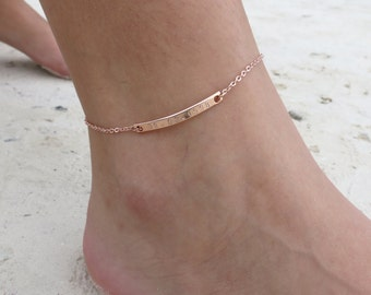 Personalized Bar Anklet Rose Gold Anklet Bridesmaids Jewelry Gift Foot Bracelet Friendship Gift Idea Custom Hand Stamp Anklet