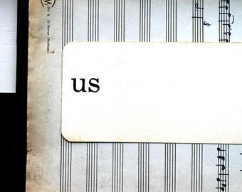 Vintage Flash Card, Wedding Photo Prop, Engagement Photo Prop, Dick and Jane School Word Cards, Vintage Signage, Us