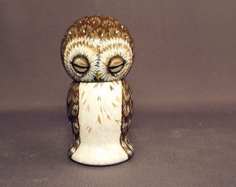 Sleepy Owl Kokeshi Doll