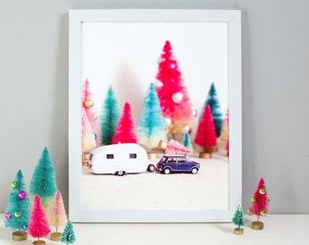 Retro Trailer Art / Bottlebrush Trees / Holiday Art / Giclee Art Print / Photo Print / Art for Kids Room / 8x10 Print / Teal and Coral