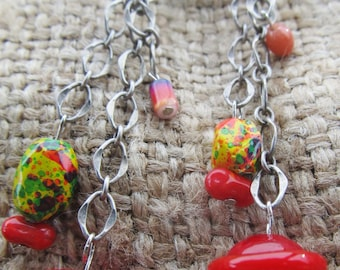 Handmade Red And Yellow Dangle Pierced Earrings, Handmade By Susan Every OOAK