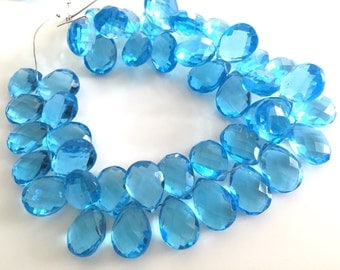 1/2 strand of swiss blue color hydro quartz pears WHOLESALE 22.00