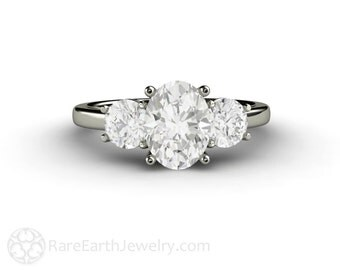 Three Stone Engagement Ring Oval White Sapphire Ring 14K or 18K Gold or Platinum Custom Bridal Jewelry