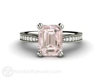 Morganite Engagement Ring Platinum Morganite Ring Emerald Accented Solitaire Milgrain Conflict Free Diamonds Pink Gemstone Ring