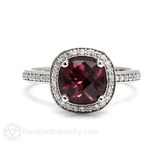 rhodolite garnet ring cushion diamond halo garnet by rareearth. Black Bedroom Furniture Sets. Home Design Ideas