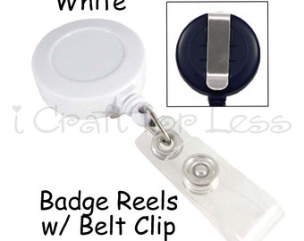 50 ID Badge Clip / Holder / Reels with Belt Clip and Plastic Strap - White - SEE COUPON