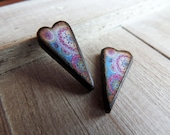 "Boho Kaleidoscope print in Bright Blue Pink Sage  (Color #7) Elongated Heart 1 x 1/2"" JLynnJewels Art Tile Jewelry DIY Earring pair"