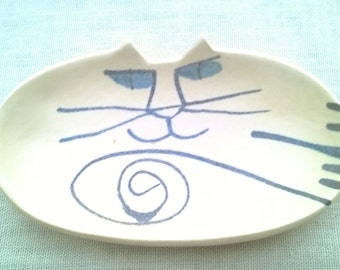 Kitty Face Soap Dish. Cat Face Trinket Dish, Ring Dish, Hand Made in Santa Cruz CA,  Jeanette Jennings