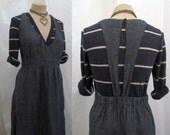 Chambray Linen dress  90s minimalist Dress Chambray Jumper Sundress 90s long linen dress  L/XL