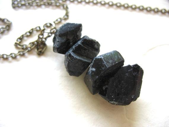 Tourmaline Necklace, Black Tourmaline Stone Antiqued Brass Chain Pendant Necklace, Handmade Artisan Tourmaline Jewelry, Gemstone Necklace