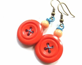 Bright Orange Button and Peach Bead Earrings with Baby Blue Wire