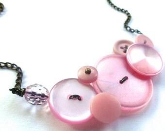 Winter sale Blush Pink Rose Smoke Vintage Button Necklace - Shabby Chic