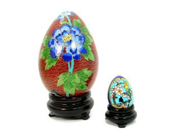 """Chinese Cloisonne Eggs, Large 5"""" and  Tiny 1-3/4"""" on Lacquered Stands, Home  Decor Knickknack, Asian Oriental Collectible Vintage c1970-80s"""