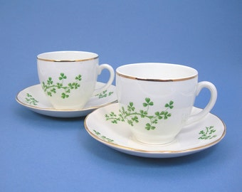 Arklow Shamrock Teacup & Saucer, Vintage, 2 Sets with Ruffled Saucer, Produced Republic of Ireland, Cream with Green Shamrocks, Gold Trim
