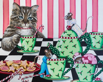 Yuletide Tea- 8 x 10 Print of Original Acrylic Cat and Mouse Painting by Carolee Clark