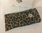 Eyeglass Case  Faux Leopard  - Handmade