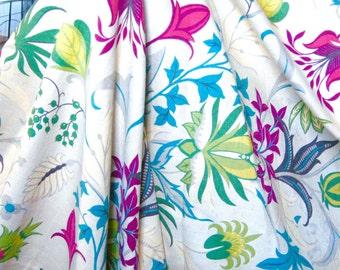 """Vintage Barkcloth - Garden Fantasy - 46"""" x 36"""" - 1940s"""