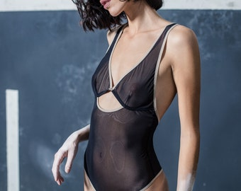 See through bodysuit lingerie in black mesh