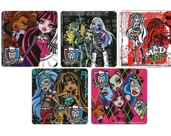 "5 Monster High Stickers 2.5"" Square Mods Ghoulia Yelps Cleo De Nile Draculaura Clawdeen Wolf Lagoona Blue Frankie Stein"