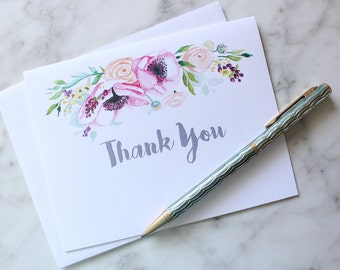 Set of Six Floral Thank You Cards with Handlettered Font, Calligraphy Cards, Blank Cards, Watercolor Cards