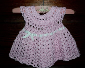 Crochet baby dress 1 -  2 months spring summer time pink glitter cotton girls