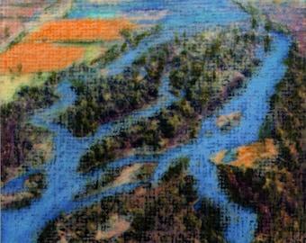 original art drawing aceo card landscape river plains