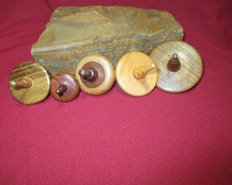 Five Handcrafted Stocking Stuffers Wooden Toy Tops