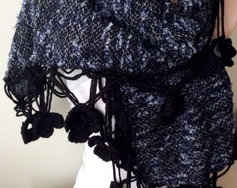 Oversized Handmade Crochet Black Flower Lace Trimmed Scarf, Rectangle  Knitted Fabirc Shawl