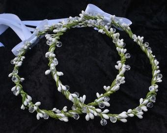 Stefana, Greek Wedding Crowns, Off White Stefana Crowns, Orthodox Wedding Crowns, Traditional Stefana, Rustic Stefana