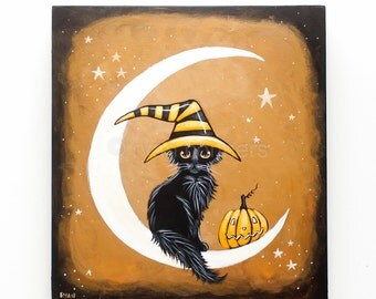 Black CAT Witch on the Moon Original Halloween Cat Folk Art Painting