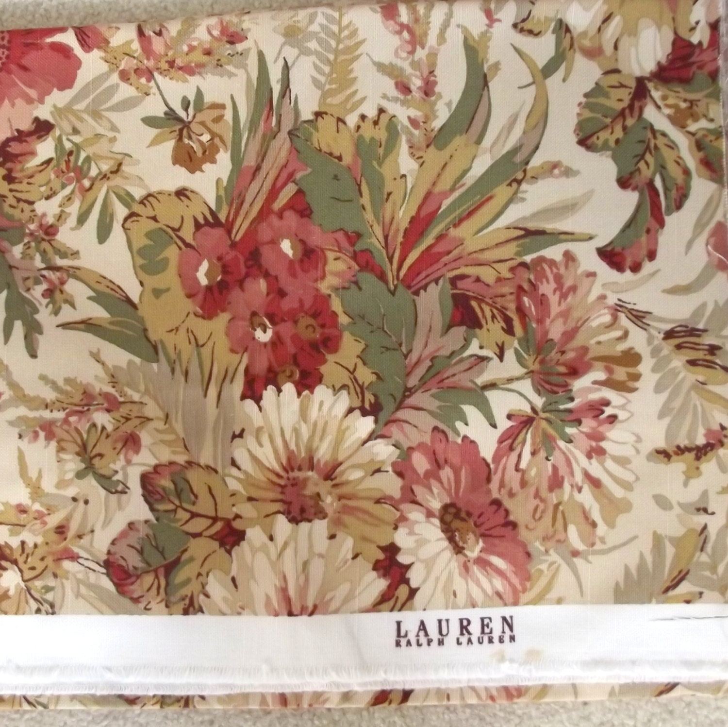 Vintage ralph lauren fabric home decor floral earth tones 1 for Ralph lauren decoration