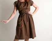 RESERVED ON SALE Vintage 1950s Swirl Wrap Dress - Chocolate Brown with Floral Embroidery - Medium