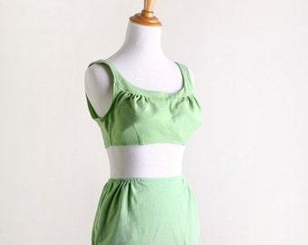 ON SALE Vintage 1960s Bikini - Kerrybrooke Sea Stars Lime Green Bathing Suit - Medium