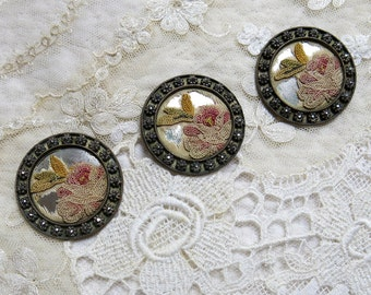 Antique Large Victorian Cut Steel Button with Embroidered Rose Flowers, UNIQUE! ...Vintage Cut Steels, Dimensional thread embroidered fabric